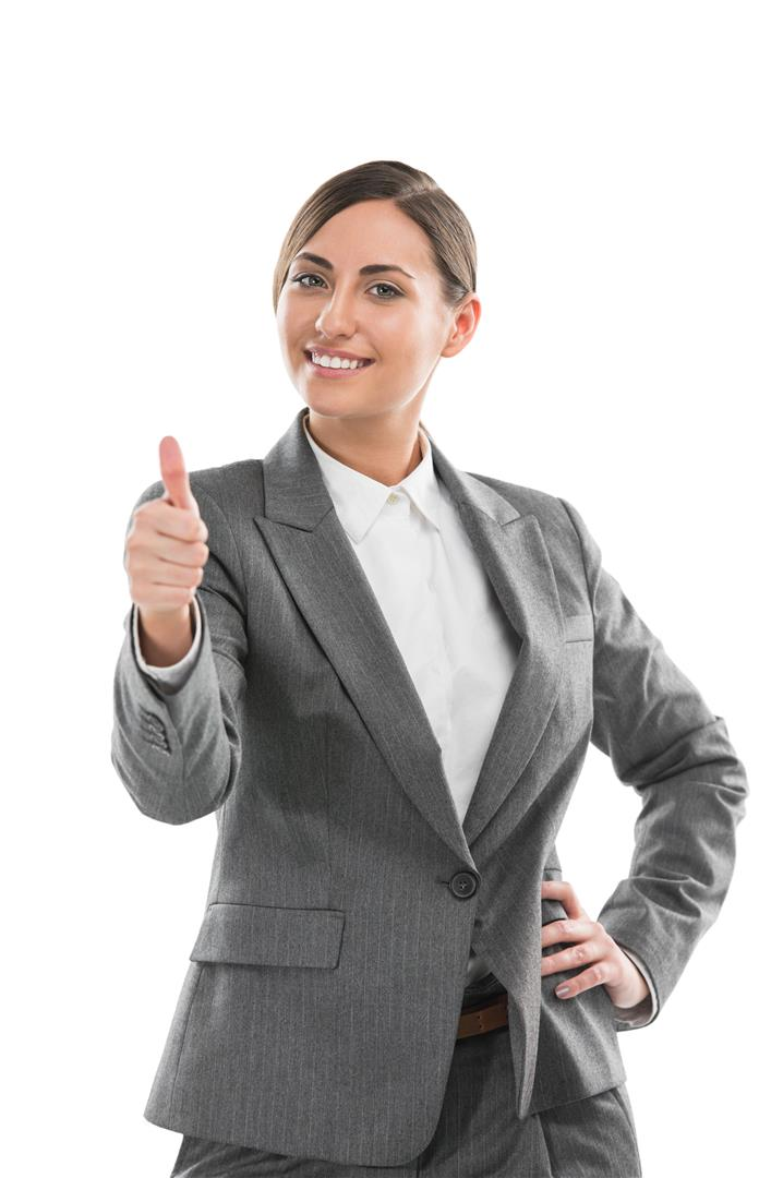 Portrait of smiling business woman, isolated on white background. Thumb up.